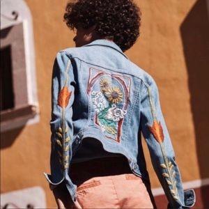 Anthro Pilcro embroidered denim jacket